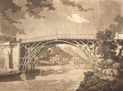 A View of the Cast Iron Bridge over the Severn at Coalbrook Dale in Shropshire